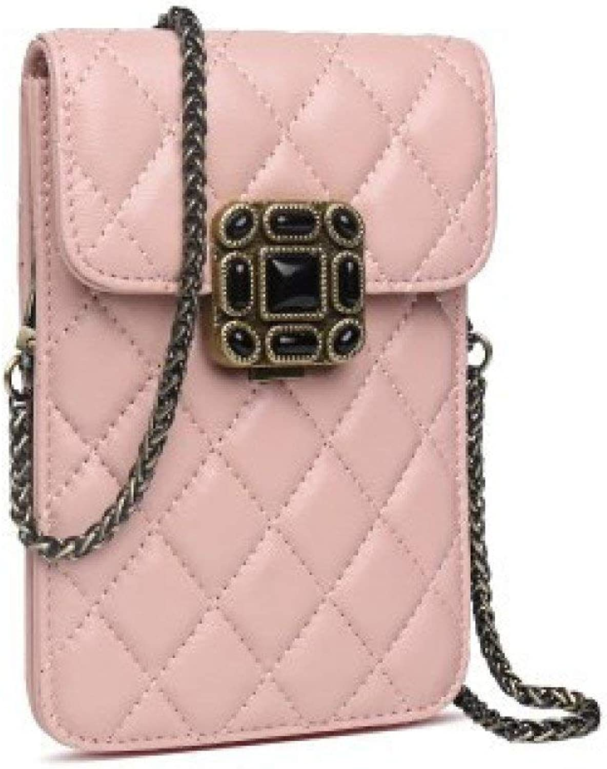 Ladies Handbag Mobile Phone Bags Women Europe \u0026 America Fashion Shoulder Bags Coin Purses Chain Bags (color   Pink, Size   One Size)
