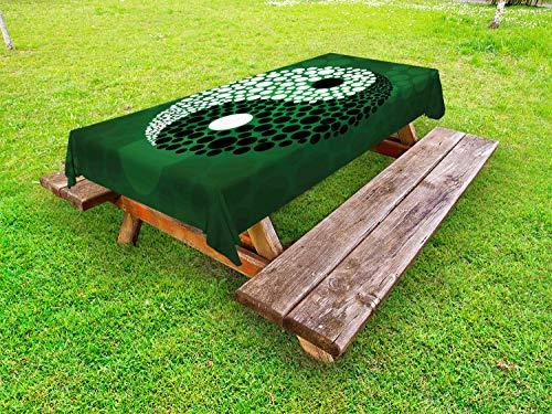 ABAKUHAUS Ying Yang Nappe Extérieure, Ying Yang Vert Harmony, Nappe de Table de Pique-Nique Lavable et Décorative, 145 cm x 265 cm, Noir, Vert, Blanc