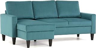 Confort24 Fox Sofá de Salon 3 plazas Chaise Longue Esquinero Rebersible Izquierda o Derecha Tapizado Tela (Turquesa)