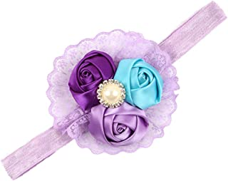 ZOONAI Baby Girls Rosebud Lace Headband Infant Newborn Toddlers Hair Bands Accessories