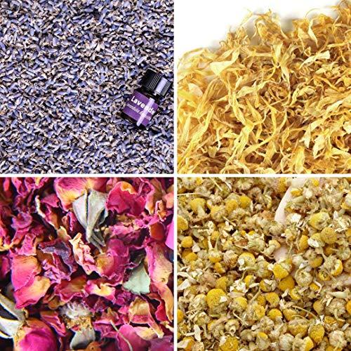 bMAKER Bulk Flower Kit Chamomile - Ultra Blue Lavender, Red Rose Buds & Petals, Marigold - 2 Cup Each Packet- Included Lavender Essential Oil