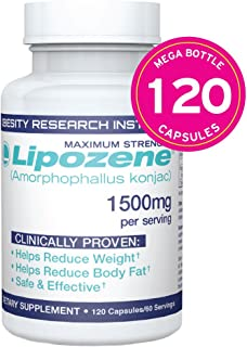 Lipozene MEGA Bottle - 120 Capsules - Largest Size Available - Appetite Suppressant and Control