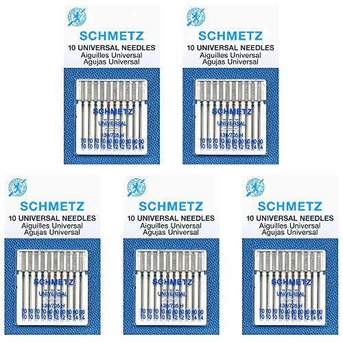 50 Schmetz Universal Sewing Machine Needles -  Assorted Sizes - Box of 5 Cards