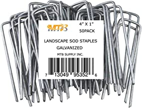 MTB 50 Pack 4x1 inch 11GA(0.12inch) Sod Staples Garden Pins Netting Stakes Ground Spikes Landscape Cover Pegs Anti-Rust Ga...