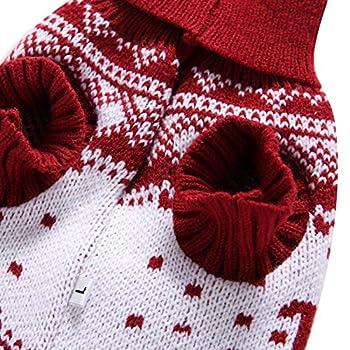 Tineer Pet Xmas Pull-Overs - Pull Chiot Sweater à Capuche Tricots Halloween Cartoon Chaud Manteau vêtements de Noël pour Petits Chiens Moyens Chats Lapins (XXL, Renne - Rouge)