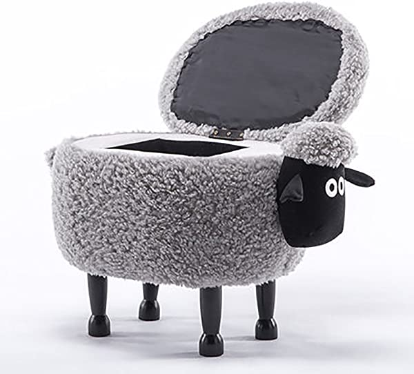 D L Children Animals Sheep Storage Stool Ottoman Creative Storage Box Footstool 4 Legs Solid Wood Upholstered Shoe Stool Gray L64xW37xH46cm