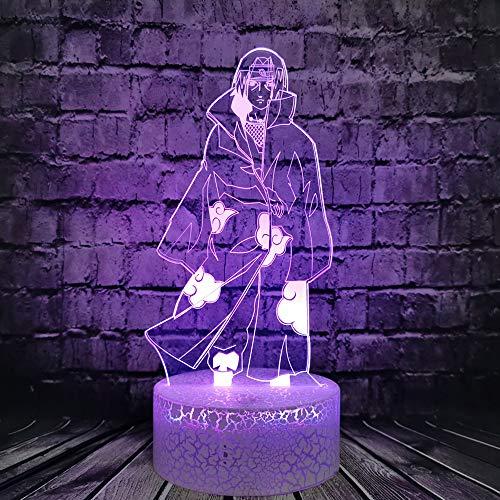 Naruto Sasuke Bros Itachi Luz nocturna 3D Ilusión óptica LED lámpara de mesa para decoración de dormitorio infantil, luz de sueño, regalo de cumpleaños para adolescentes y niños