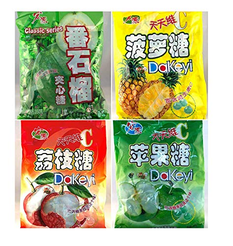 Hong Yuan Classic Series Pineapple Guava Green Apple Lychee Candy 4 Pack 12.3 oz Dakeyi with FREE Candy Samples