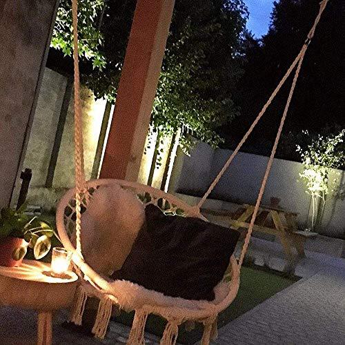 Mertonzo Hängesitz & Hängesessel, Gestrickt von Baumwollseil mit romantischen Fransen Hängematte Swing Sessel für Drinnen/Draußen 120KG Kapazität (Hängemattenhalter und Kissen sind Nicht Enthalten) - 5