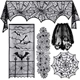 TUPARKA 5 Pcs Halloween Decorations Set Includes Lace Spiderweb Table Runner,Spiderweb Round Lace Table Cover,Fireplace Mantel Scarf, Lampshade, Spiderweb Window Curtain for Halloween Party Supplies