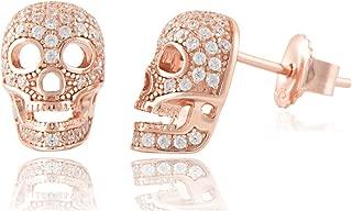 Sterling Silver Cz Skull Stud Earrings - 11mm
