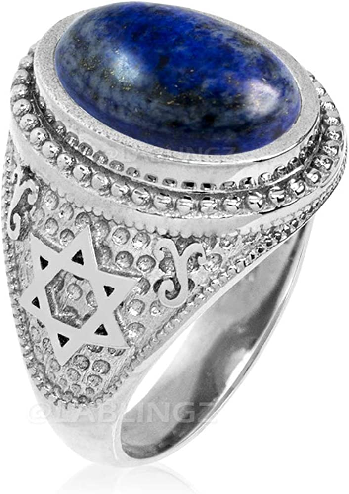 LA BLINGZ 14K White Gold Star of David Lapis Lazuli Gemstone Jewish Statement Ring