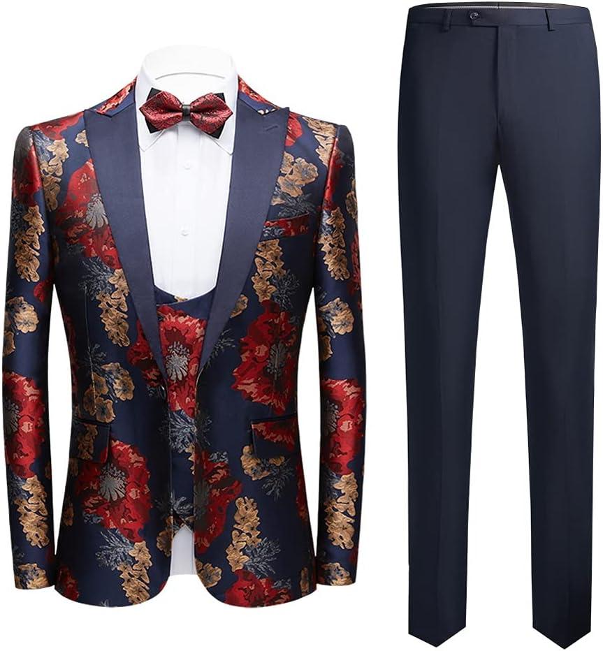 GYZX Elegant Formal Groom Men Dress Wedding Suits for Men Printed Floral Tuxedo Groomsmen Wedding Blazer Suits (Color : Multicolor, Size : XL for 63-67kg)