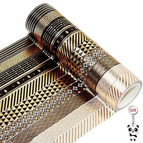 ruiqiu 10 Rollos de Cinta Washi, Papel de Aluminio Dorado Washi Cinta para Scrapbooking DIY Craft Decorativo