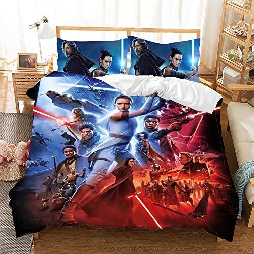 CQLXZ Guerres de las Estrellas - Juego de cama infantil con impresión en 3D, tamaño múltiple, funda de edredón, diseño de anime, para niños y niñas (220 x 240 cm)
