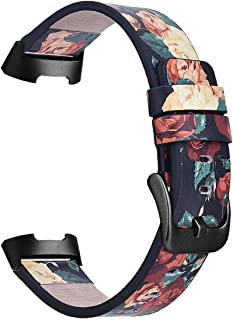 Compatible with Fitbit Charge 3 Bands/Charge 3 SE Band Women Men,TOROTOP Genuine Leather Fashion Floral Watch Band Strap Compatible for Fitbit Charge 3 Flower Design Wrist Watch Bracelet(Rose 2)