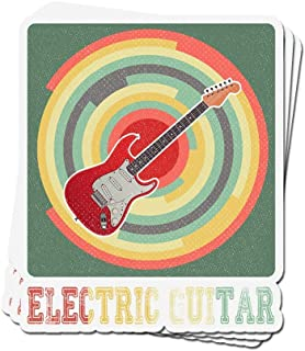 3 PCs Stickers Electric Guitar Vintage Retro for Electric Guitar Player 4 X 3 Inch Die-Cut Decals