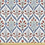 Ambesonne Ottoman Fabric by The Yard, Turkish Traditional Ceramic Tulip Patterns with Cultural Ottoman Royal Lines Design, Decorative Fabric for Upholstery and Home Accents, 1 Yard, Dark Coral