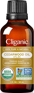 Cliganic USDA Organic Cedarwood Essential Oil - 100% Pure Natural Undiluted, for Aromatherapy Diffuser | Non-GMO Verified