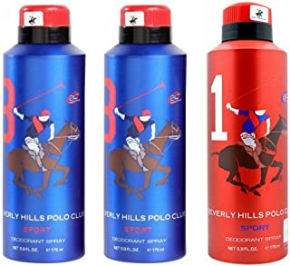 Beverly Hills Polo Club Two No.8 and One No.1 Deodorant Combo Pack for Men(Pack of 3)