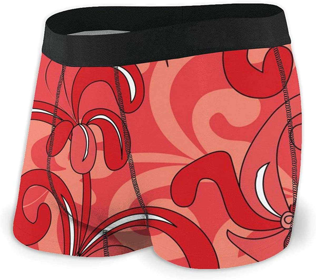 Mens Boxer Briefs Marvellous Seamless Red Floral Flowers Breathable Underwear