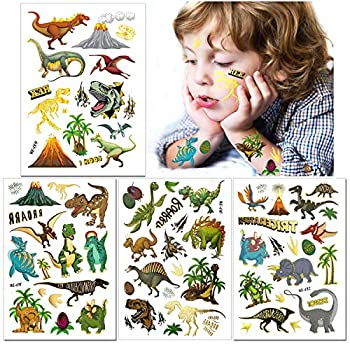 Dinosaur Temporary Tattoos for Kids - Glitter Tattoos Dinosaur Temporary Tattoos,56pcs Waterproof Fake Tattoo Stickers,Birthday Party Supplies Dinosaur Party Favors
