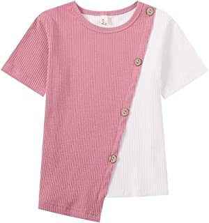 WELAKEN Kids Unisex Short-Sleeve T-Shirts Ribbed Cotton Top Tees for Girls & Boys
