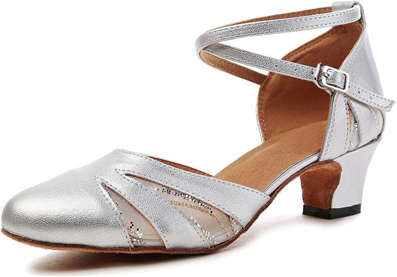 Qiusa GL261 Frauen Closed Toe Silber Silber Silber Mesh Synthetische Salsa Latin Dance Schuhe Partei Pumpen UK 7 (Farbe   -, Größe   -)  df8884