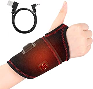 Heating Wrist Brace, Heated Wrist Wrap, 3 Level Temperature with One Button Control, Heat Wrist Hand Support for Carpal Tunnel, Arthritis, Tendonitis, Bruises & Sprains, Fits Men and Women