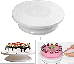 Jini Collection® Plastic Cake Tools 360 Round Easy Rotate Turntable Revolving Cake Decorating Turntable Stand, 28cm, White