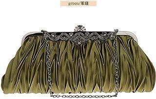Shoulder Bag Women Silk Cocktail Evening Clutches Purse Bag Handbags Handbag Clutch (Color : Green)