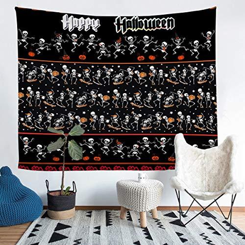 Patrón de calavera para colgar en la pared de Halloween con temática de esqueleto, manta de pared para niños y niñas estilo gótico, manta para decoración de habitación mediana, 51 x 59