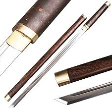 Shijian Plain Ninja Sword Straight Blade High Carbon Steel Katana Full Tang Real Sharp with Rosewood Scabbard