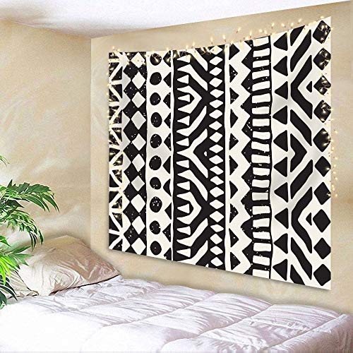Ambsunny Black White Tribal Pattern Tapestry 51Hx59W Inch Abstract Geometric Doodle Elements Modern Art Wall Hanging Bedroom Living Room Dorm Decor Fabric