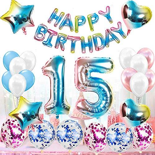 Juego de decoración de cumpleaños para mujeres y hombres, arco iris, decoración de cumpleaños para 15 años, decoración para mujeres, 51 globos con guirnalda Happy Birthday para géneros, Reveal