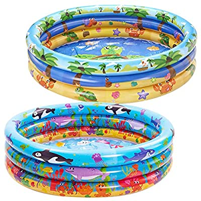 JOYIN Inflatable Kiddie Pool, Beach Ocean 3 Ring Summer Fun Swimming Pool for Kids, Water Pool Baby Pool for Summer Fun, 47 inches, for Ages 3+