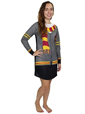 Harry Potter Hogwarts Gryffindor Women's Long Sleeve Nightgown Pajamas