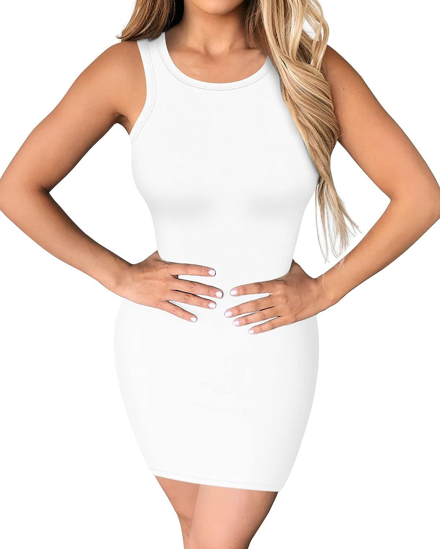 TRENLIVER Women's Bodycon Tank Dresses Sexy Sleeveless Long Sleeve Slim Mini Club Dress
