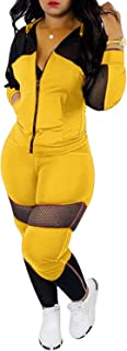 Womens Sexy Mesh Patchwork Zip Up Hoodie Jacket Two Piece Outfits Skinny Long Pants Clubwear Tracksuit Sportswear Set