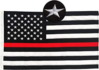 PLTCAT Thin Red Line American Flag - 5X8 Ft with Embroidered Stars and Sewn Stripes - with Grommets Black Red and White American Flag Honoring Firefighters and EMTs
