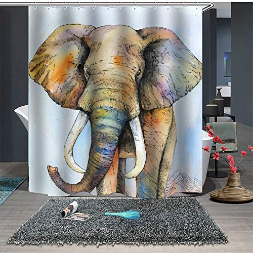Enhome Kreative Kinder Duschvorhang Waschbar Wasserdichter Anti-Schimmel mit Kunststoffhakens, Polyester Duschvorhang 3D Süß Tier Drucken Badewannevorhang Badezimmer (120x180cm,Glücklicher Zoo)