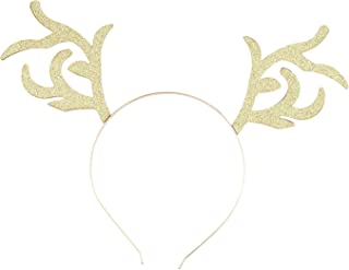 Lux Accessories Gold Tone Glitter Christmas Holiday Xmas Reindeer Headband