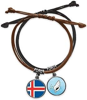 アイスランド国旗ヨーロッパの国 ブレスレットロープハンドチェーンレザーコンチリストバンド