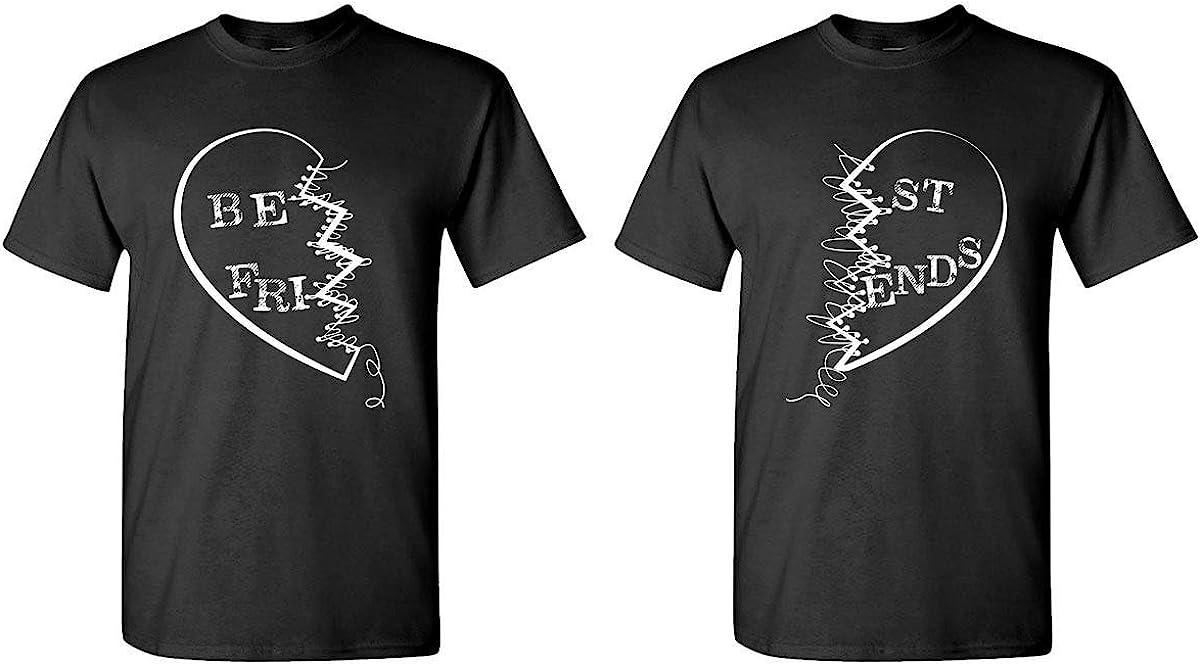 The Goozler Best Friends Buddies - Couples Two T-Shirt Combo, 2XL Left, 3XL Right, Black