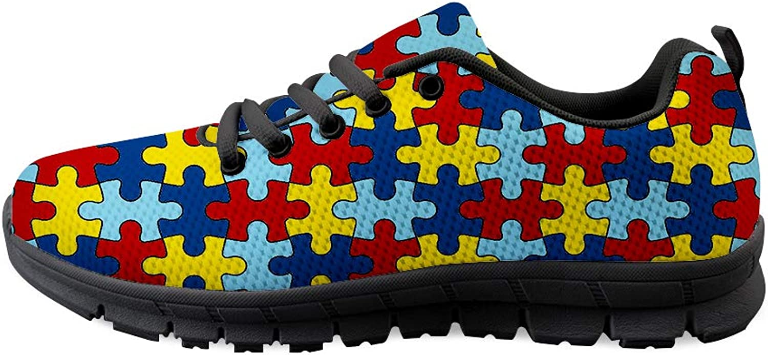Lace-up Sneaker Training shoes Mens Womens Autism Awareness Puzzle