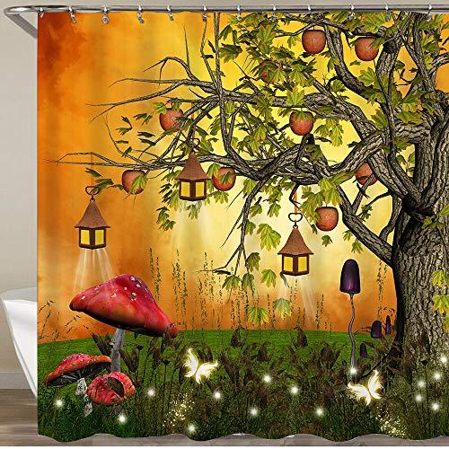 GLONLY Neueste Duschvorhänge Duschvorhang Mit Haken Baum mit Äpfeln und Laternen in Einer verzauberten Lichtung Wasserdicht Bad Vorhang Waschbar Bad Vorhang Polyester Stoff mit 12 Haken 180x180 cm
