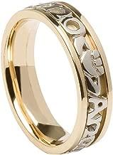 14K Mo Anam Cara Ring for Men Two Tone White & Yellow Gold Celtic Wedding Band Irish Made