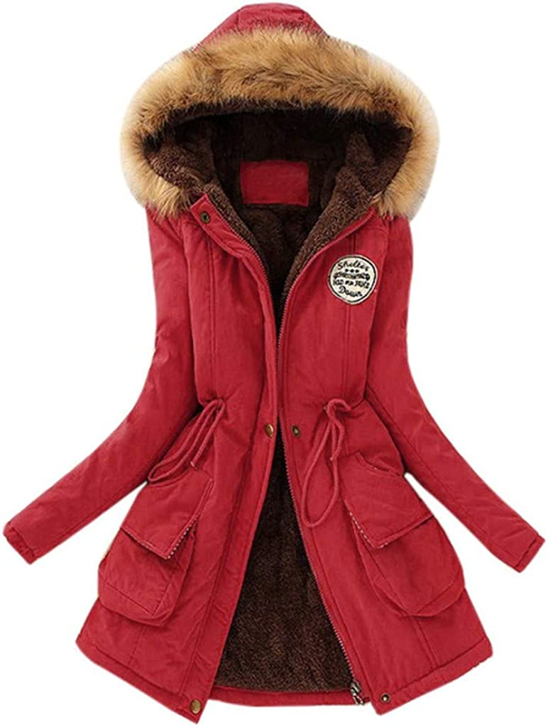 ZANFUN Women's Winter Warm Coats Hoodie Parkas Overcoat Fleece Outwear Plush Lining Fashion Oversize Faux Fur Jackets
