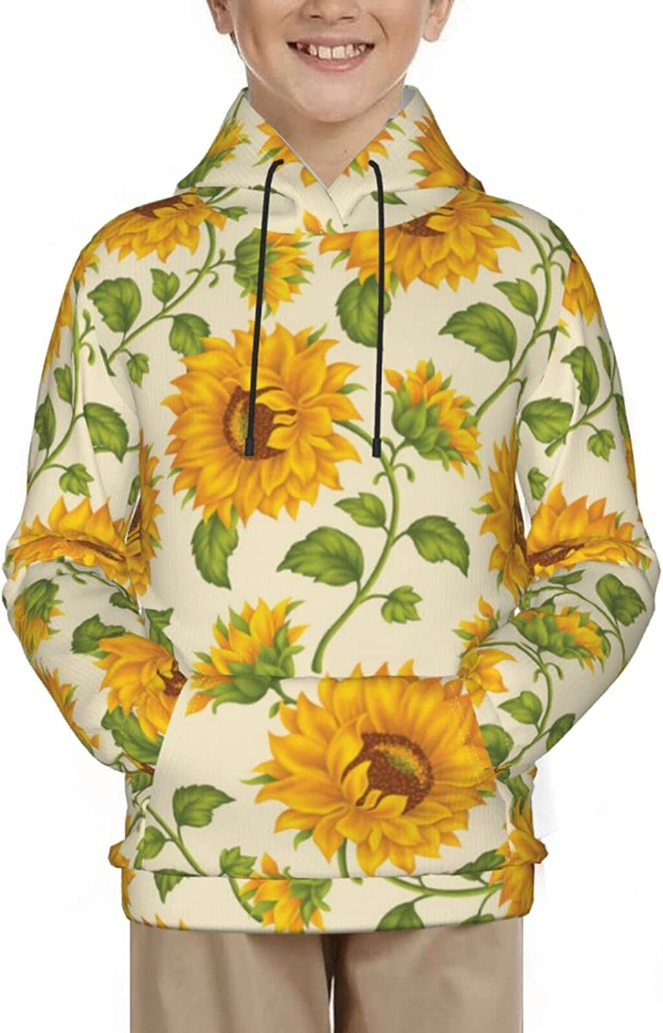 Sunflowers Hoodies, Fashion 3D Print Sweatshirts, with Pocket Long Sleeves Pullover, for Boys Girls
