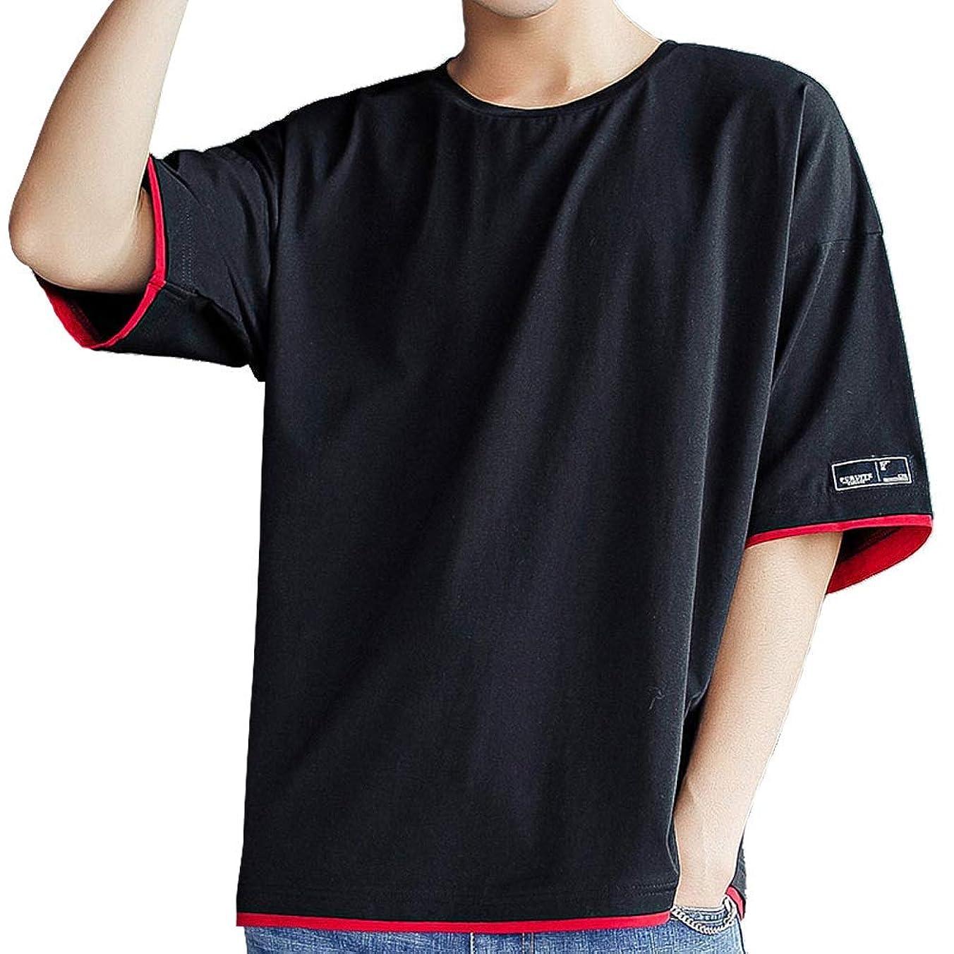 南アメリカすり減る最後に[ Smaids x Smile (スマイズ スマイル) ] トップス Tシャツ 半袖 ゆったり シャツ 無地 丸首 配色 カジュアル メンズ